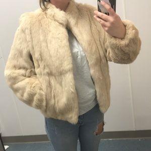 Real rabbit fur jacket cream white